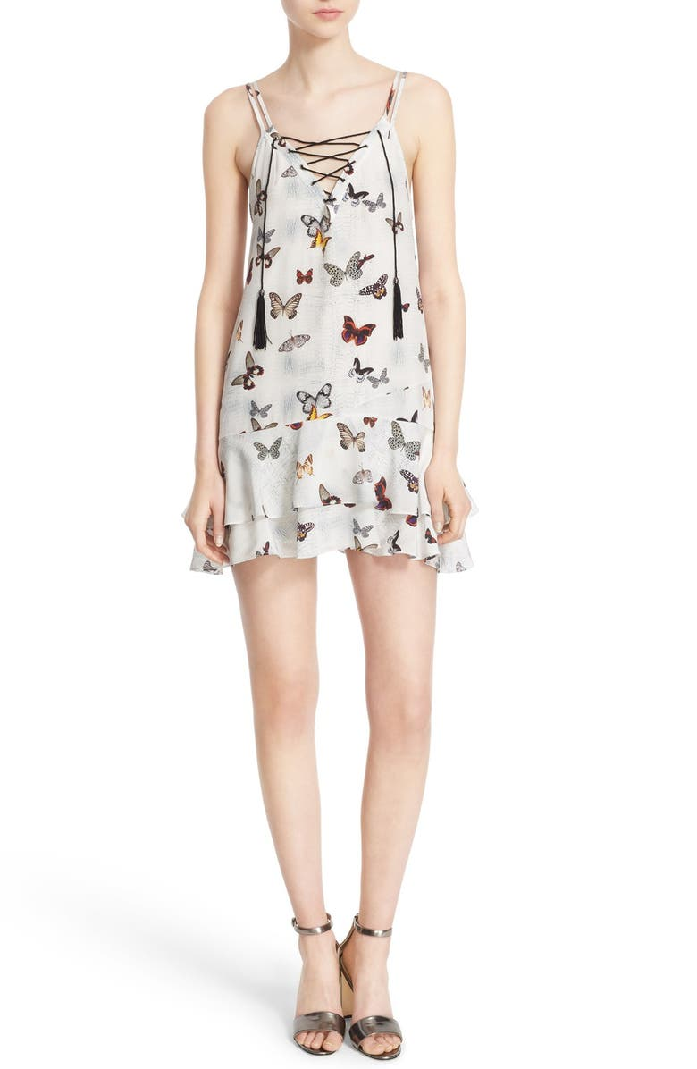 THE KOOPLES Butterfly Print Tie Front Dress, Main, color, 100