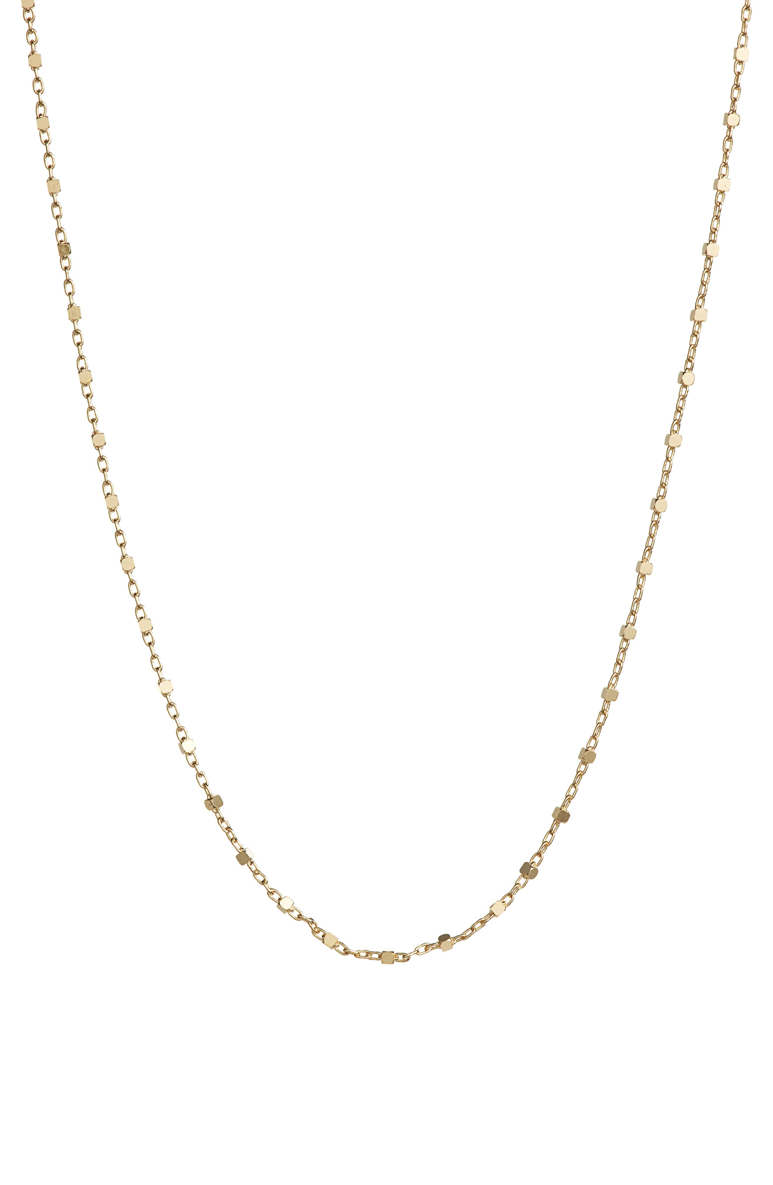 A polished chain necklace crafted in Italy gives off contemporary flair with cubic stations that shine within its delicate oval links. Style Name: Bony Levy Beaded Chain Necklace (Nordstrom Exclusive). Style Number: 5635375. Available in stores.