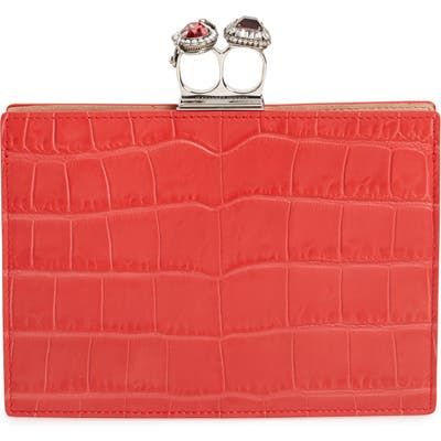 Alexander Mcqueen Croc Embossed Calfskin Leather Double Ring Clutch - Red