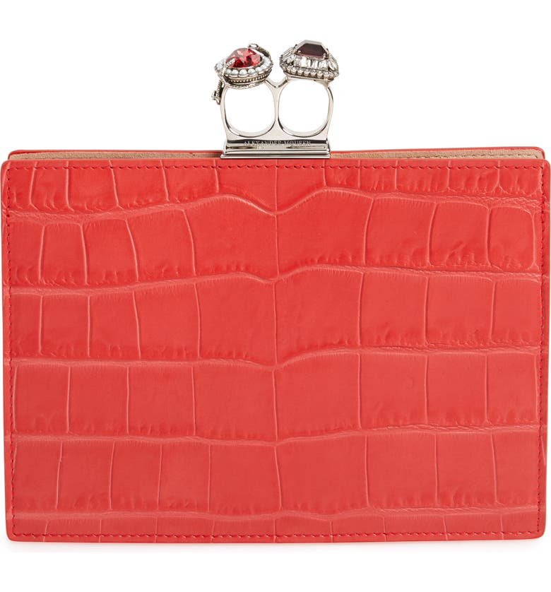 ALEXANDER MCQUEEN Croc Embossed Calfskin Leather Double Ring Clutch, Main, color, LUST RED