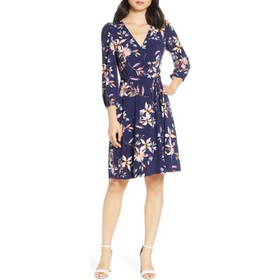 Petite Eliza J Fit & Flare Dress, Blue