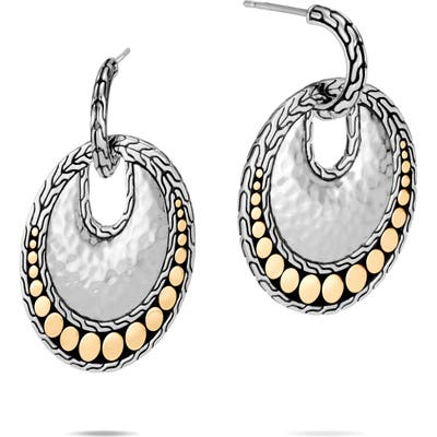 John Hardy Dot Hammered 18K Gold & Silver Round Drop Earrings