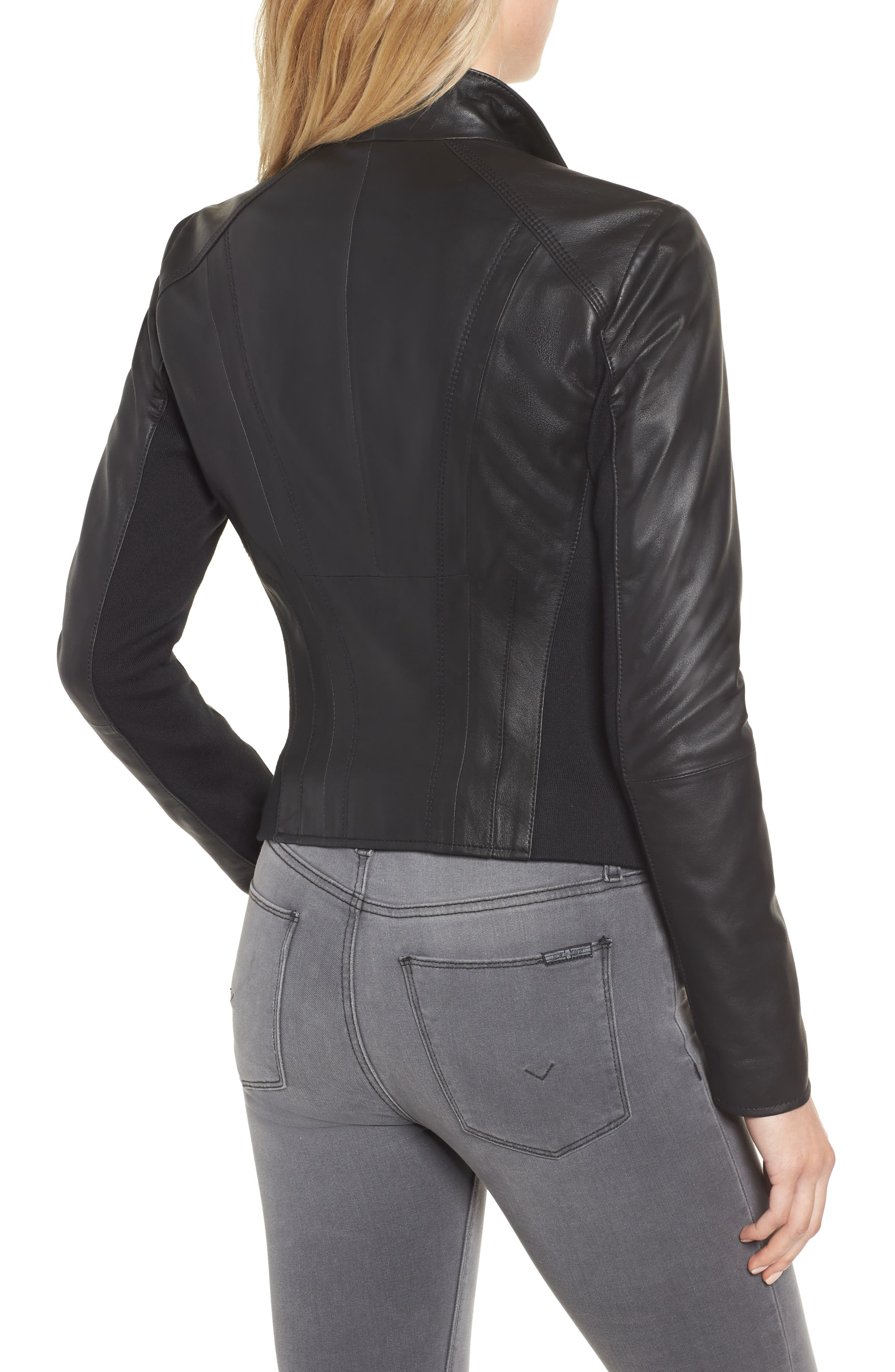 ,                             Marc New York by Andrew Marc Felix Stand Collar Leather Jacket,                             Alternate thumbnail 2, color,                             BLACK