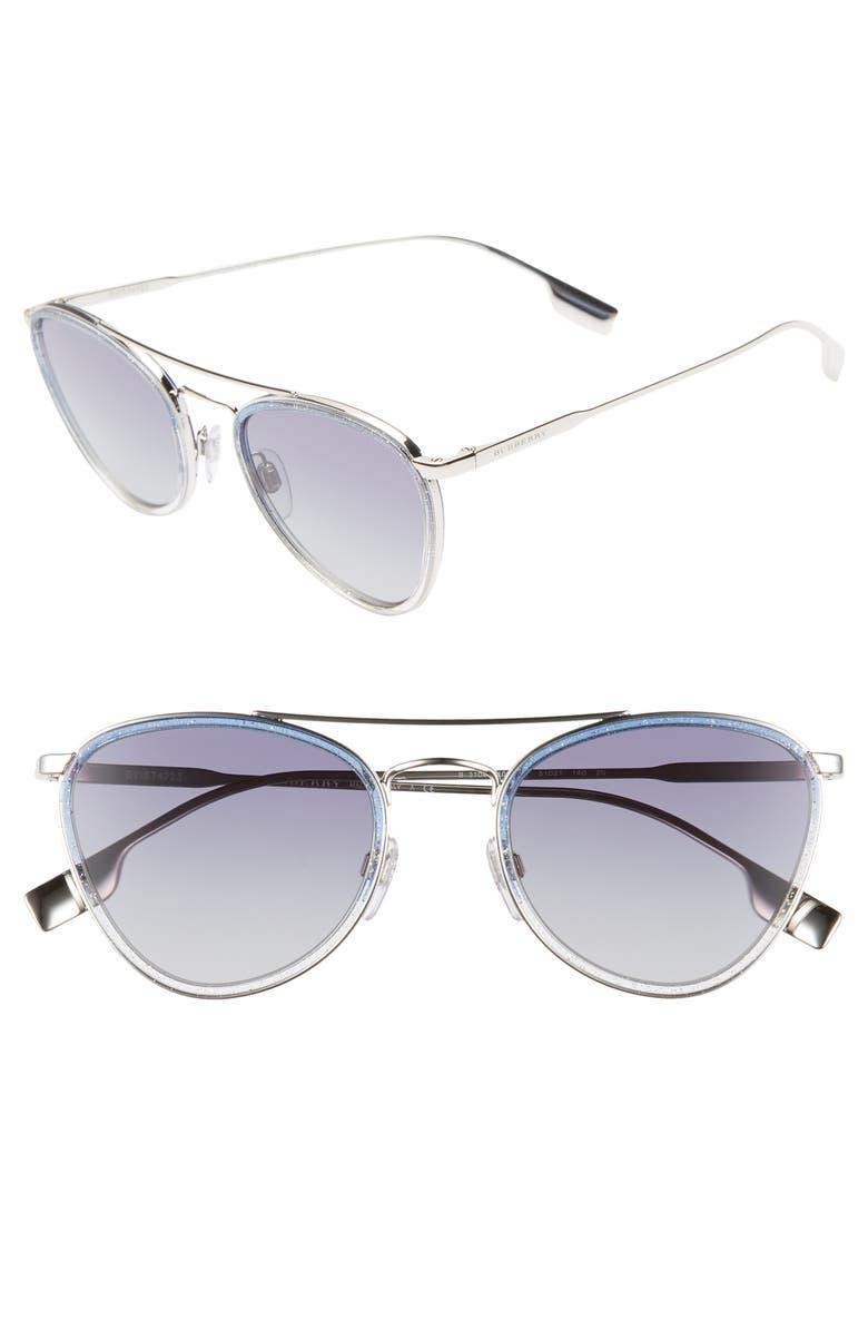 BURBERRY 51mm Aviator Sunglasses, Main, color, 040