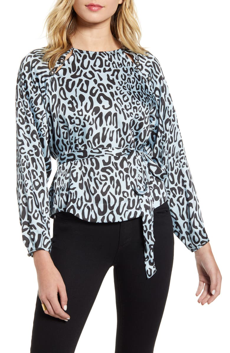 REBECCA MINKOFF Angelina Leopard Print Tie Waist Blouse, Main, color, 458