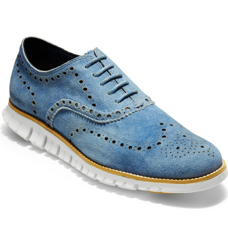 COLE HAAN ZeroGrand Wingtip Derby, Main, color, DENIM BLUE SUEDE