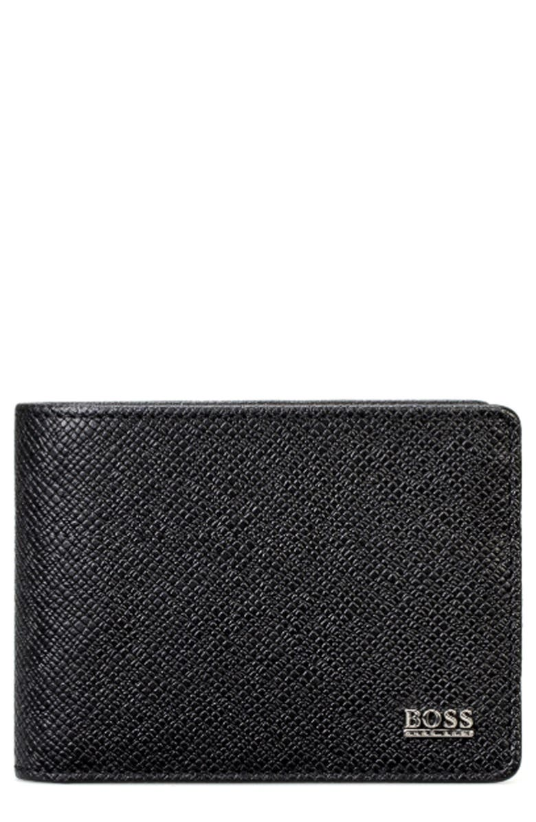 BOSS 'Signature' Bifold Calfskin Leather Wallet, Main, color, 001