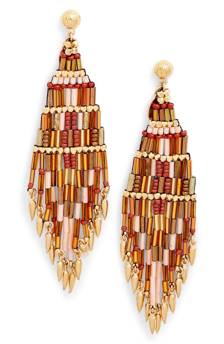 GAS BIJOUX Ulla Beaded Drop Earrings, Main, color, BROWN