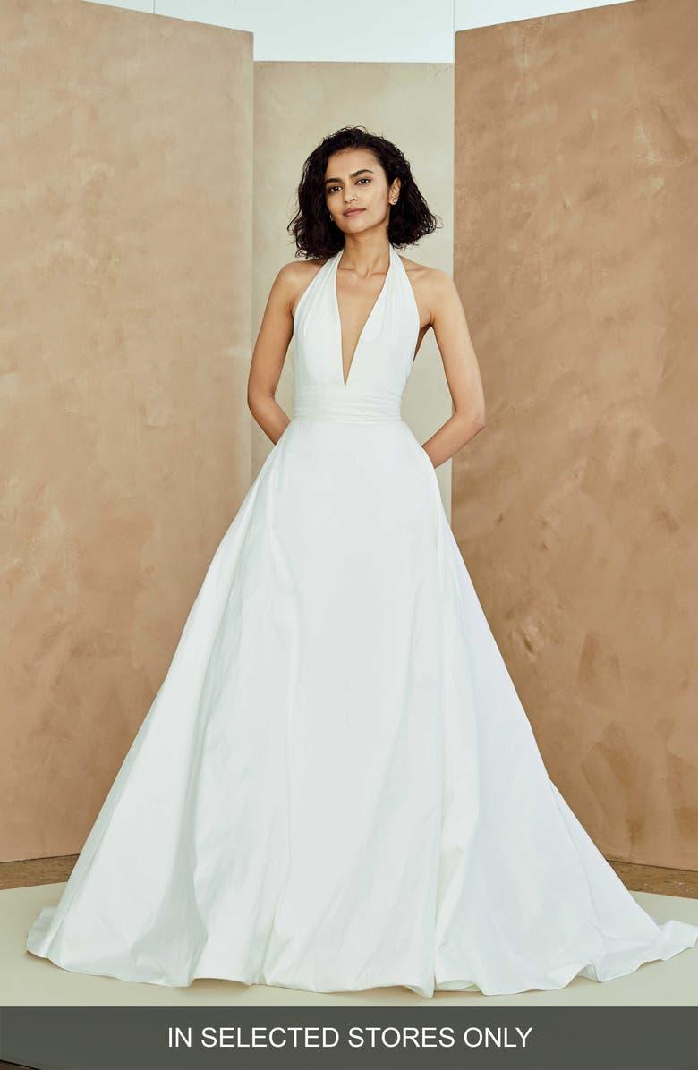 NOUVELLE AMSALE Melia Plunge Neck Taffeta Wedding Dress, Main, color, 900