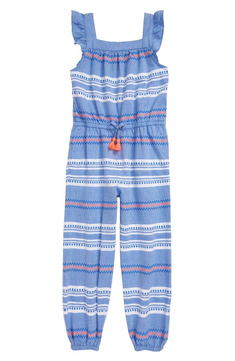 MINI BODEN Woven Jumpsuit, Main, color, BLU BLUE DOBBY STRIPE