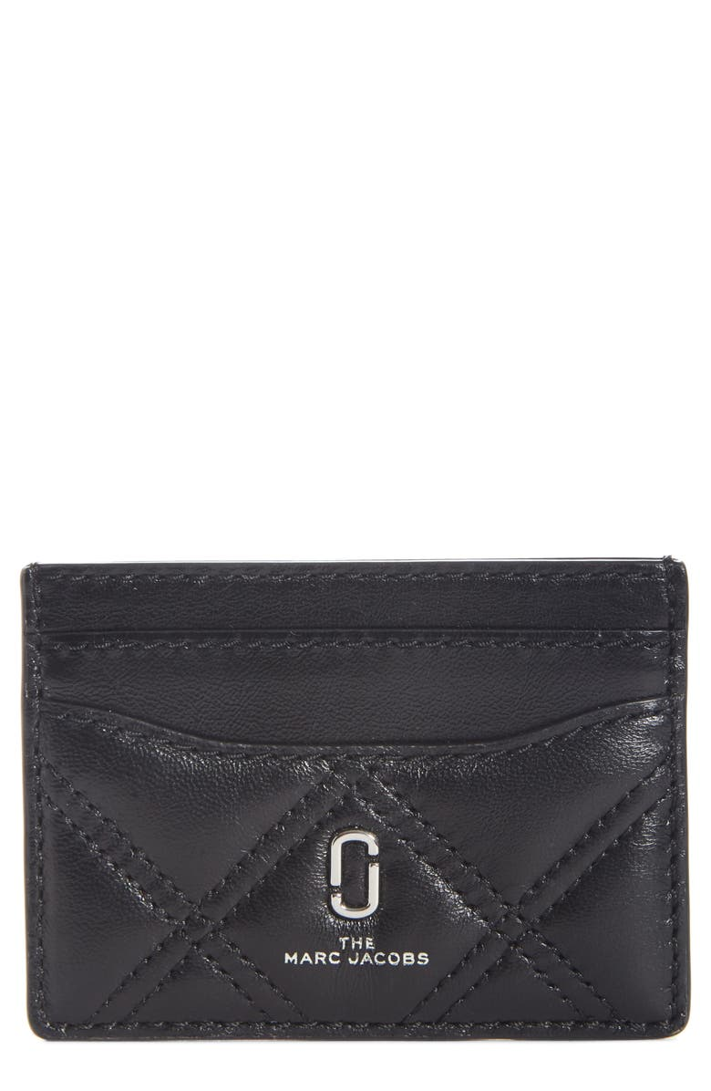 THE MARC JACOBS Quilted Leather Card Case, Main, color, BLACK