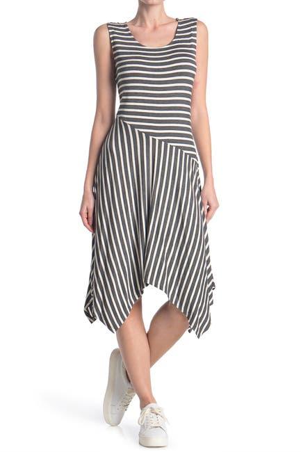 Image of Como Vintage Stripe Sharkbite Hem Dress