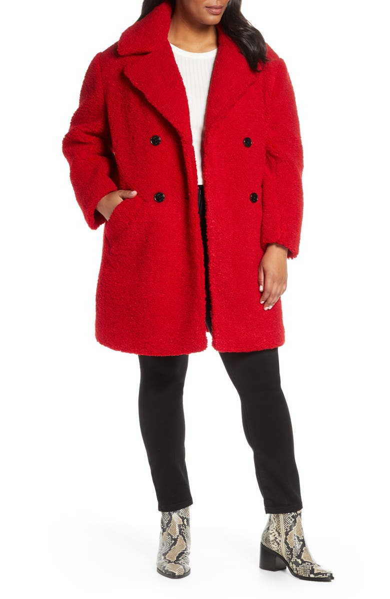 KENNETH COLE NEW YORK Double Breasted Teddy Bear Coat, Main, color, RED