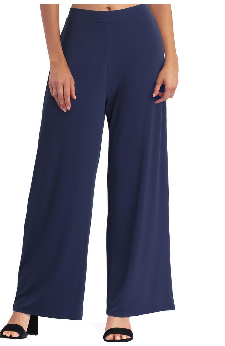 H HALSTON Wide Leg Pants, Main, color, CLASSIC NAVY