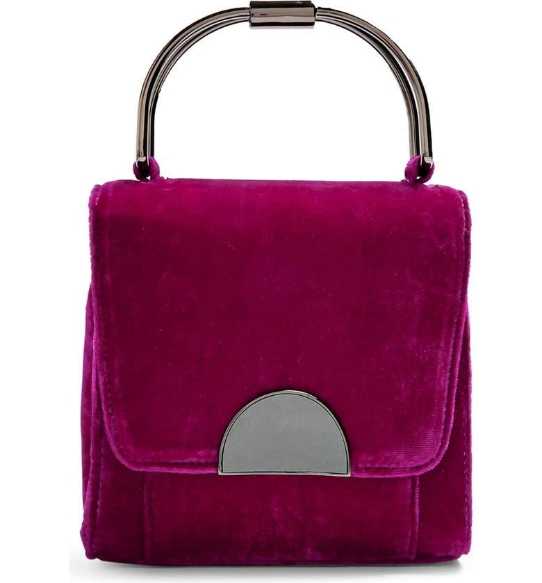 TOPSHOP Olivia Velvet Crossbody Bag, Main, color, PINK