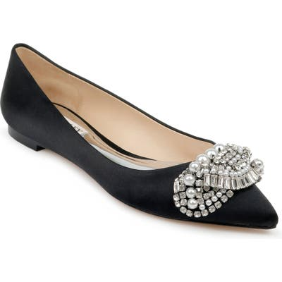 Badgley Mischka Octavia Crystal Embellished Skimmer Flat- Black