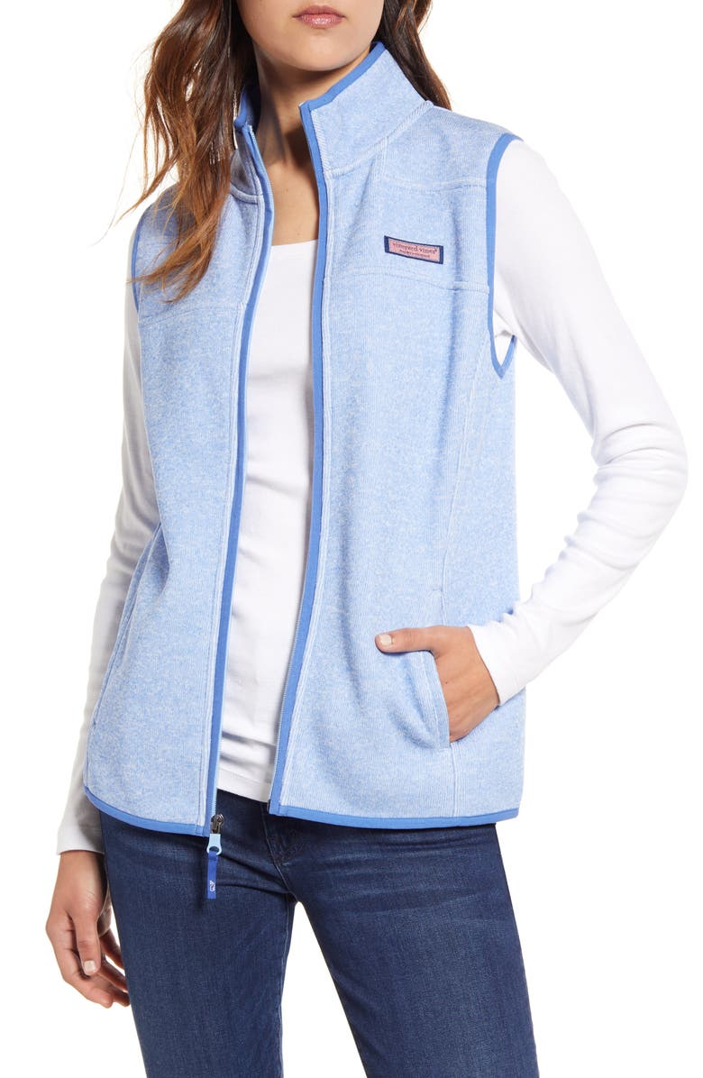 VINEYARD VINES Fleece Sweater Vest, Main, color, HYDRANGEA