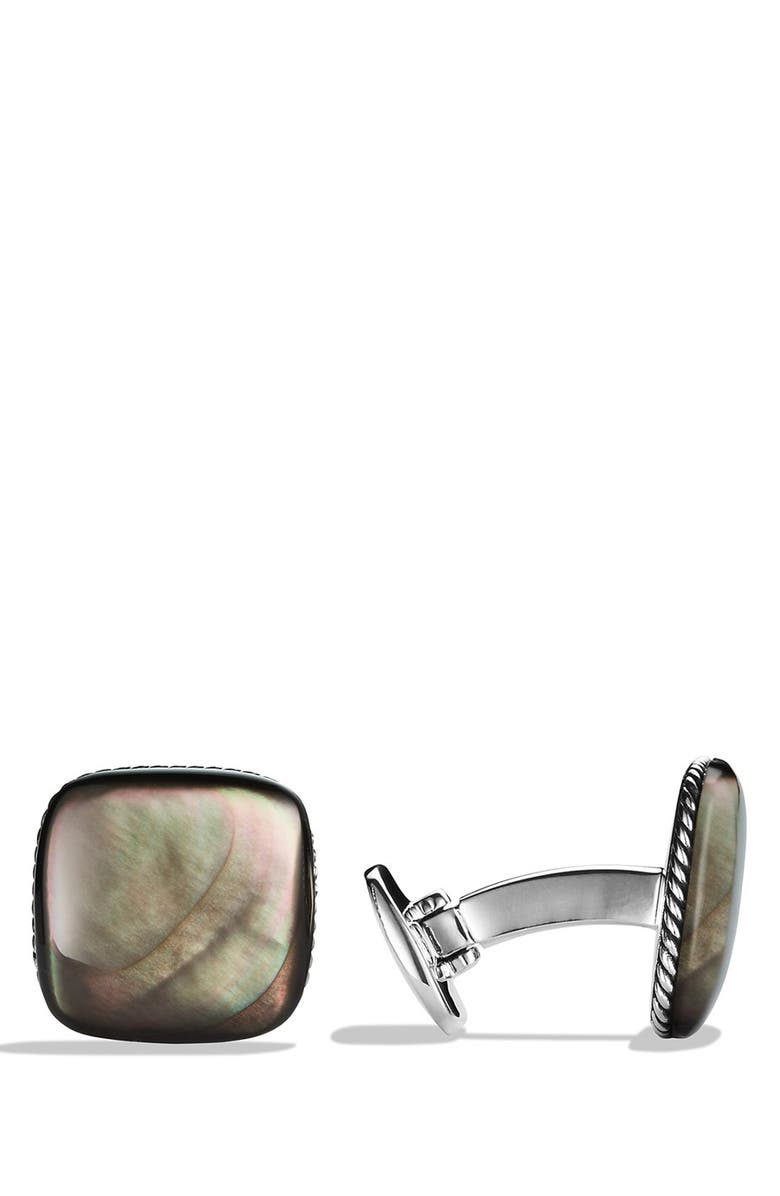 DAVID YURMAN 'Streamline' Cuff Links with Black Mother-of-Pearl, Main, color, BLACK MOTHER OF PEARL