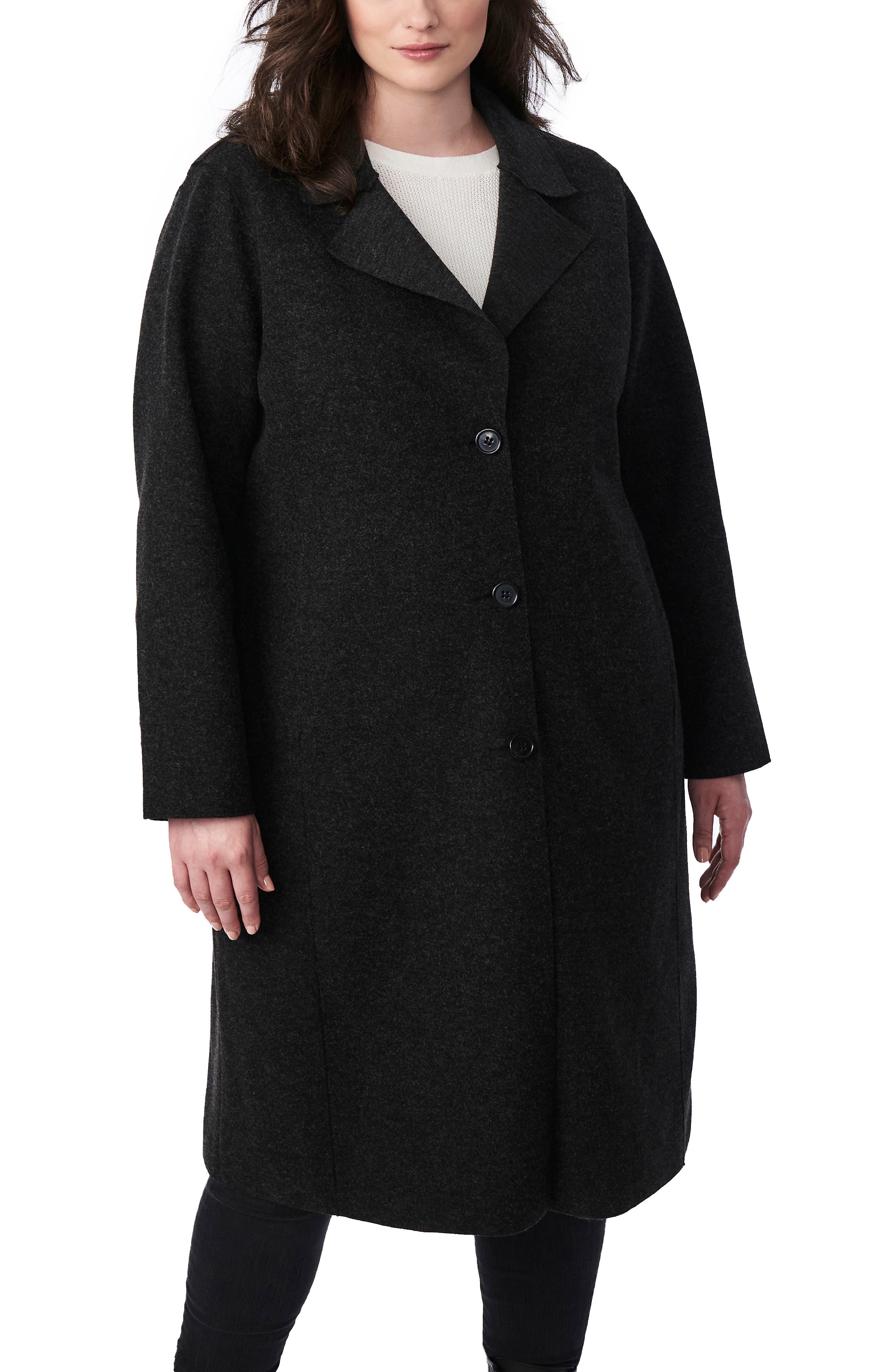 1920s Coats, Flapper Coats, 20s Jackets Plus Size Womens Bernardo Sweater Long Coat $136.90 AT vintagedancer.com