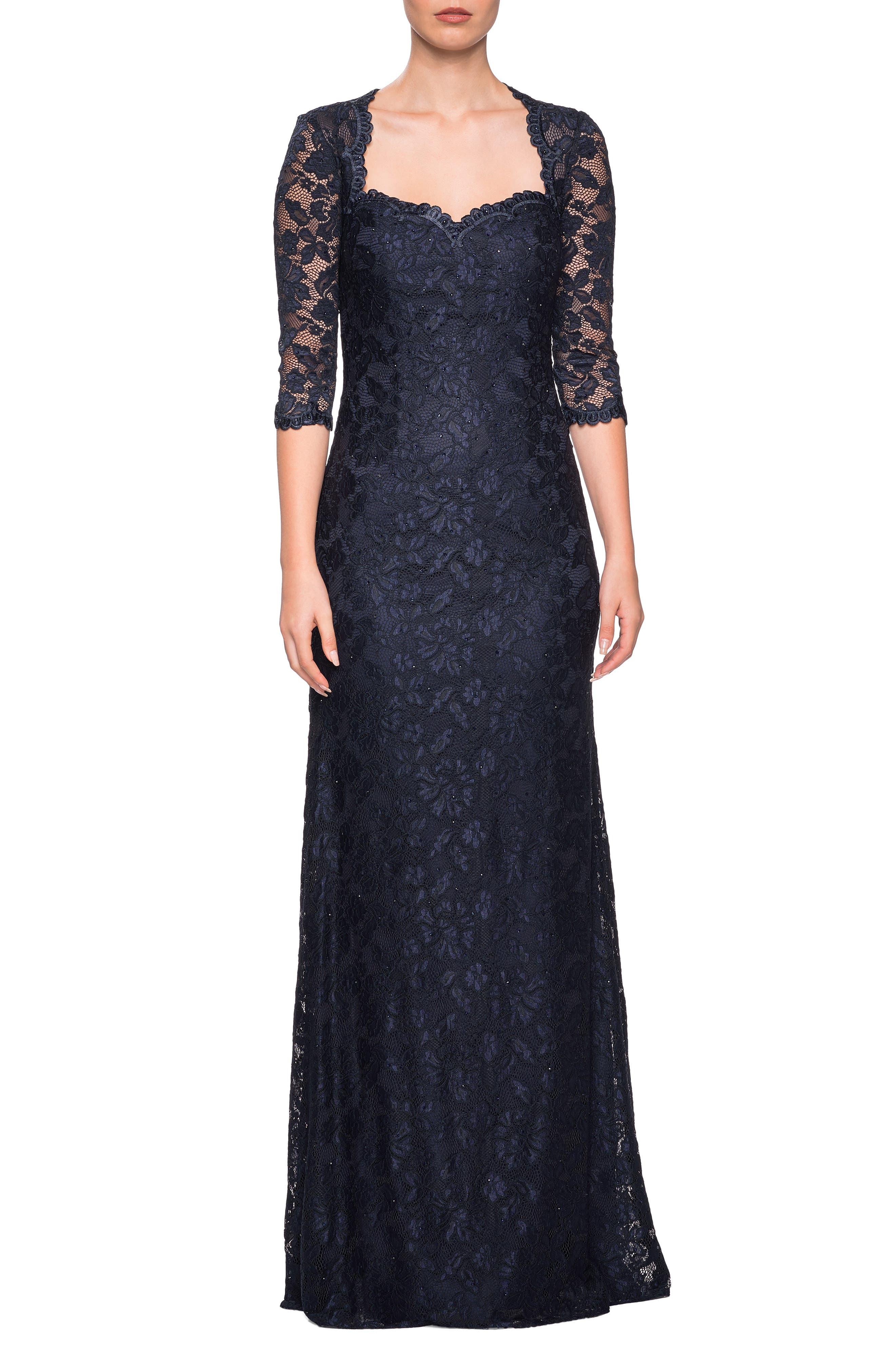 La Femme Lace Column Gown, Blue