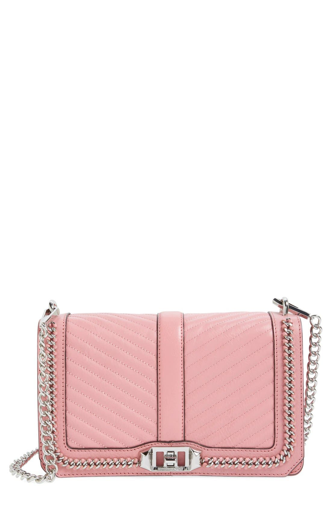 ,                             Love Leather Crossbody Bag,                             Main thumbnail 145, color,                             654