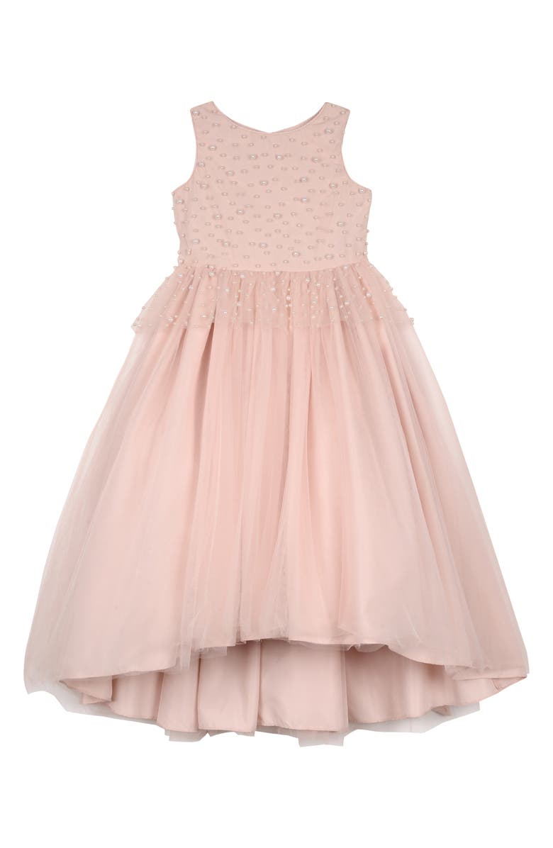 BADGLEY MISCHKA COLLECTION Badgley Mischka Imitation Pearl Beaded Peplum Dress, Main, color, BLUSH