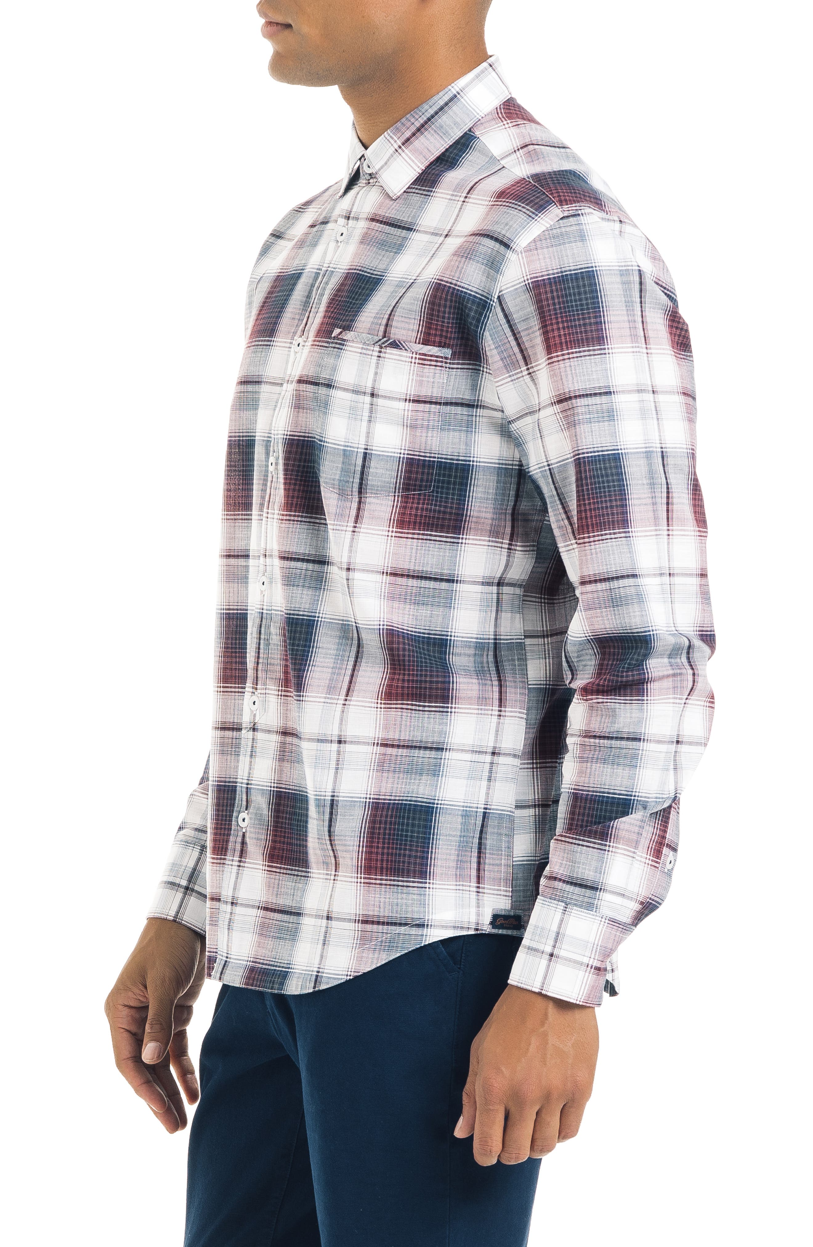 ,                             Slim Fit Plaid Sport Shirt,                             Alternate thumbnail 4, color,                             WHITE