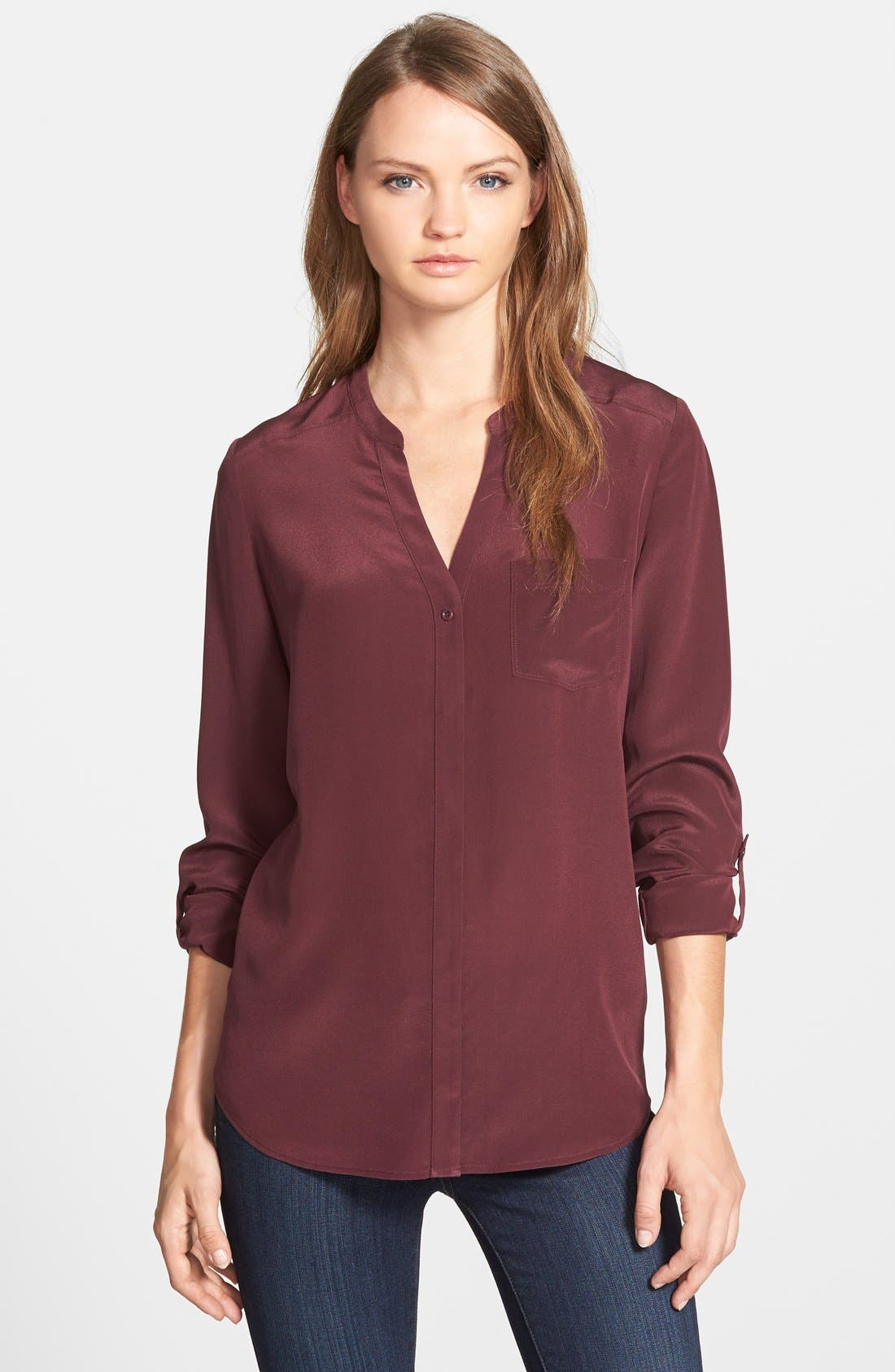 ,                             Collarless Silk Blouse,                             Main thumbnail 61, color,                             501