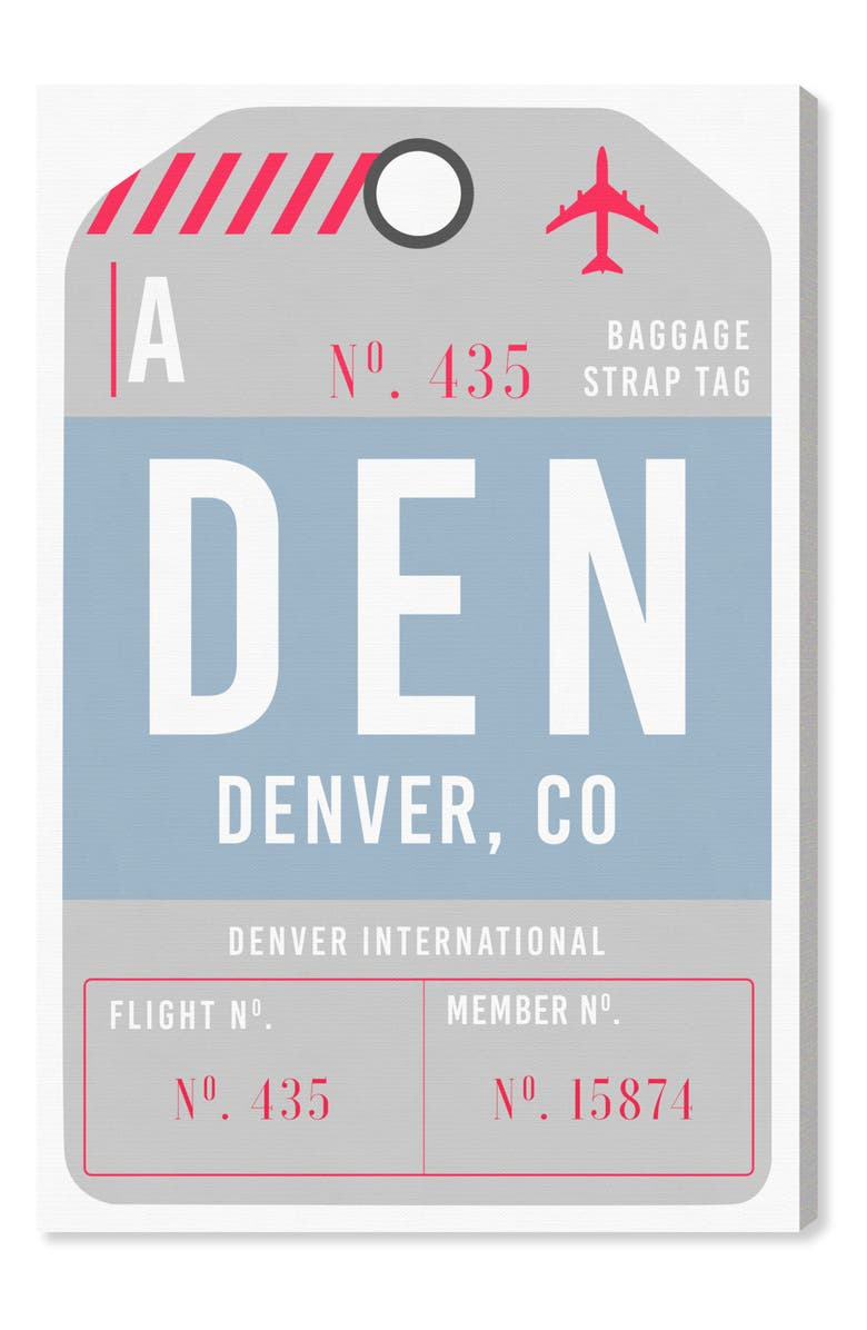 OLIVER GAL Denver Luggage Tag Wall Art, Main, color, BLUE