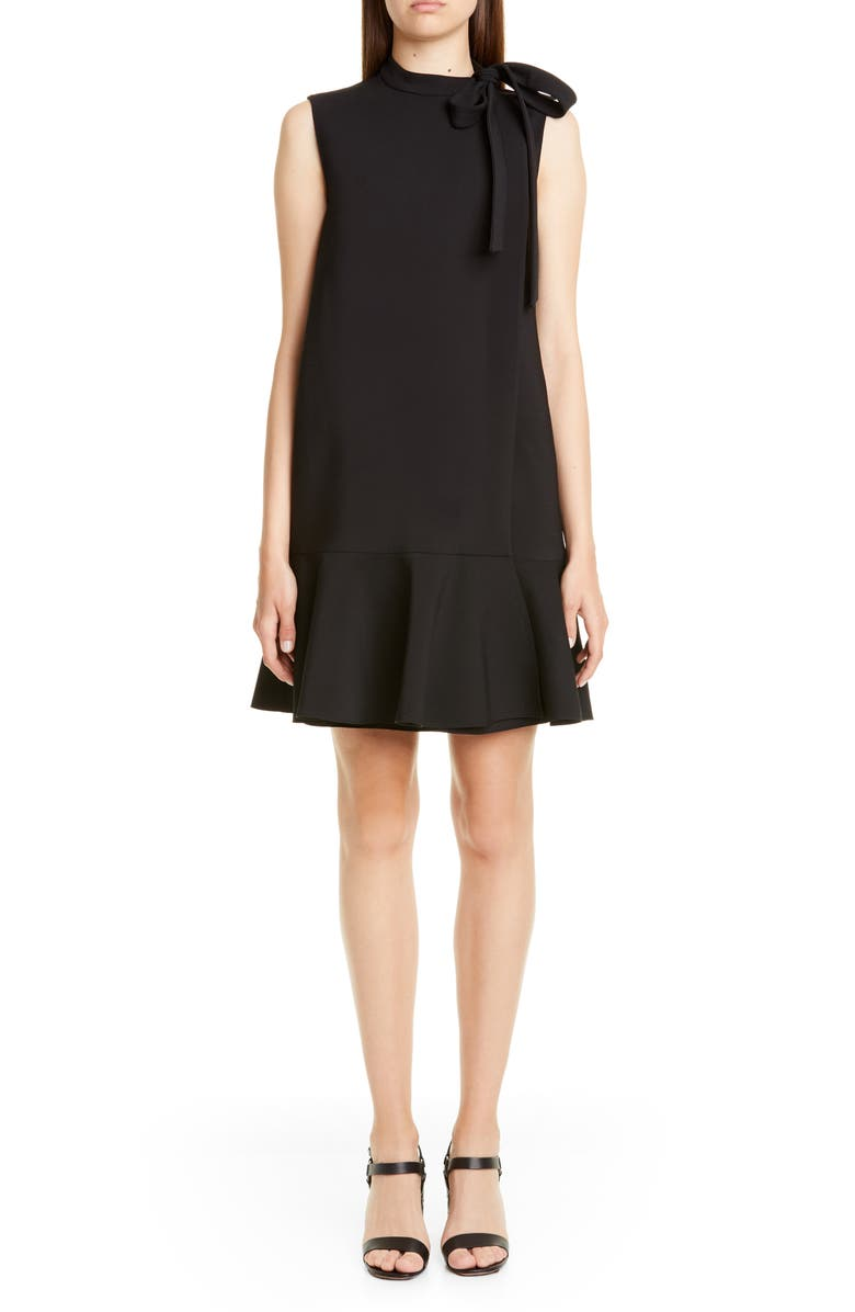 VALENTINO Tie Neck Ruffle Hem Wool Blend Minidress, Main, color, BLACK