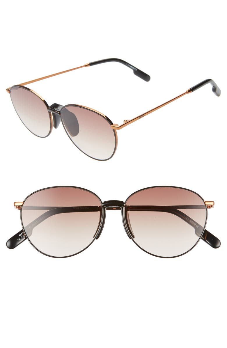 KENZO 55mm Round Sunglasses, Main, color, DARK BRONZE/BLK/GRADIENT BRN