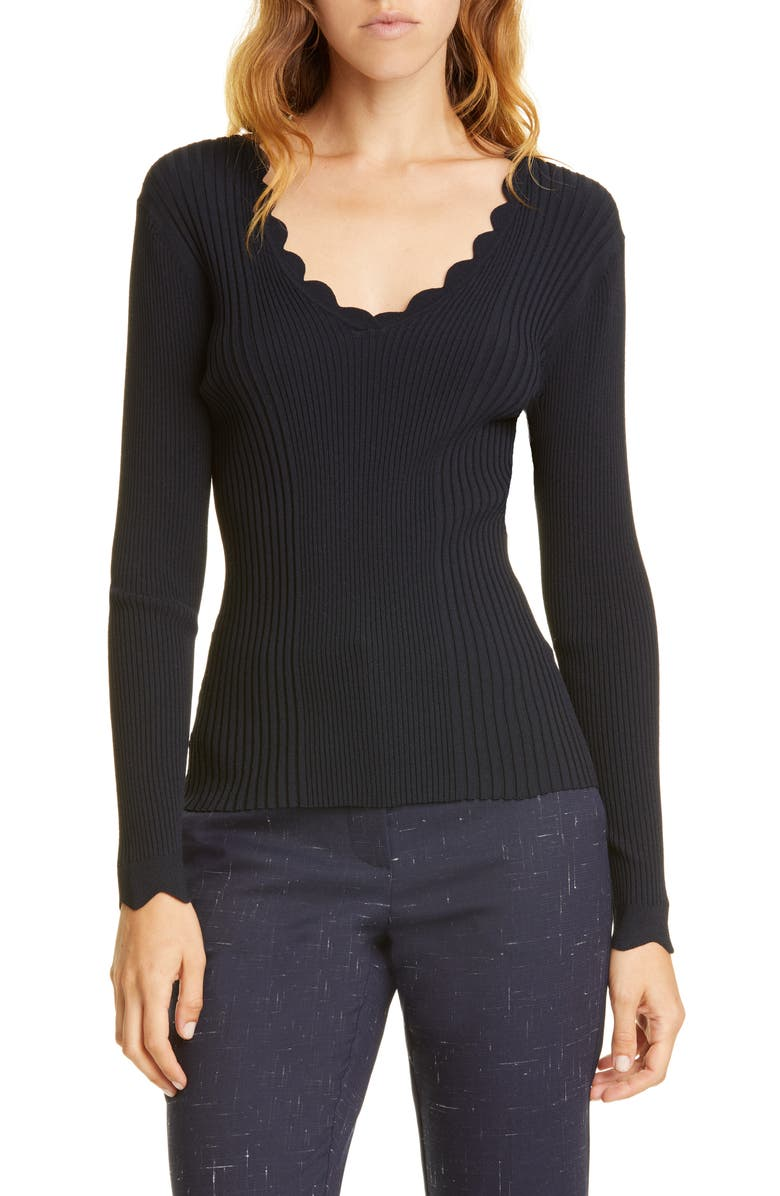 TAILORED BY REBECCA TAYLOR Scalloped Ribbed Top, Main, color, DARK NAVY