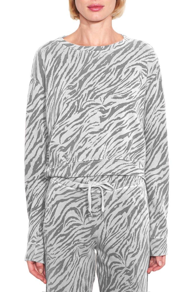 SUNDRY Zebra Print Crop Sweatshirt, Main, color, PAPER
