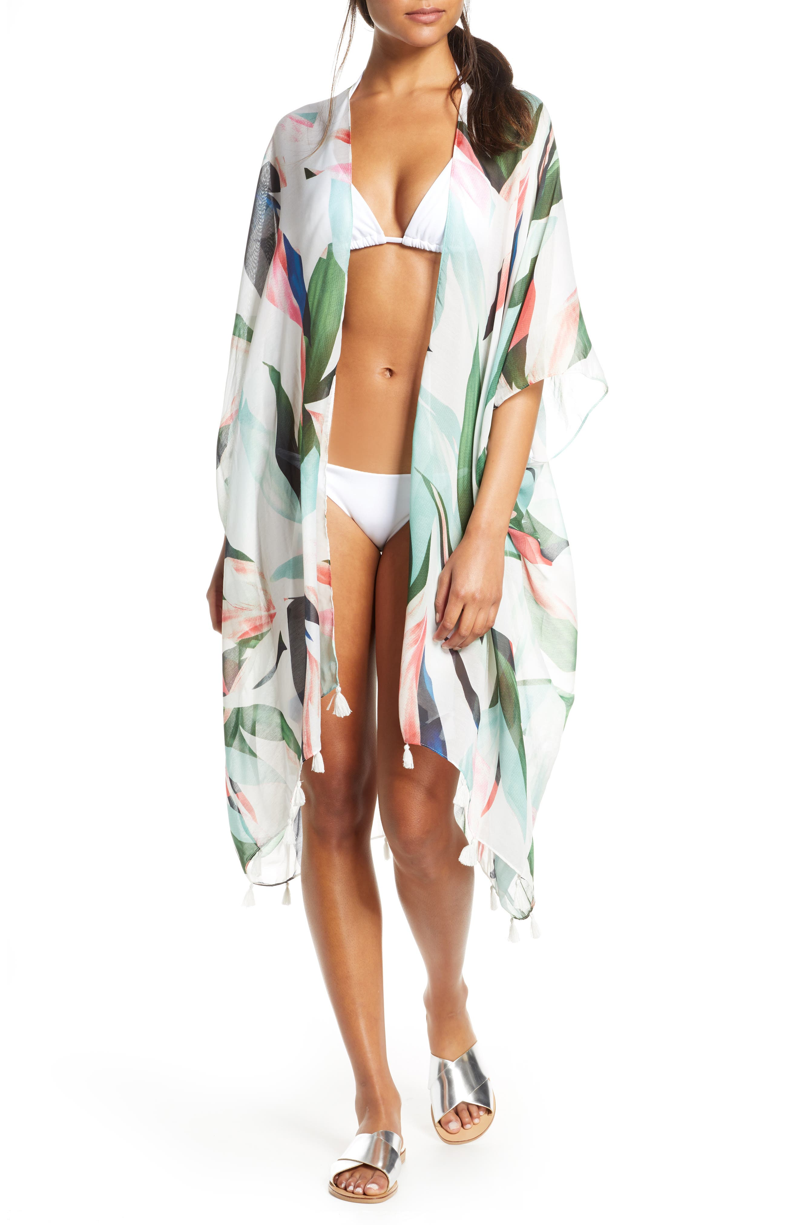 Pool To Party Birds Of Paradise High/low Cover-Up, Size One Size - Ivory