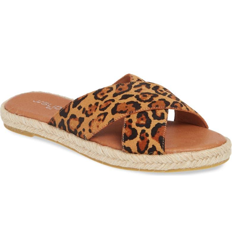 JSLIDES Reva Slide Sandal, Main, color, TAN LEOPARD LEATHER