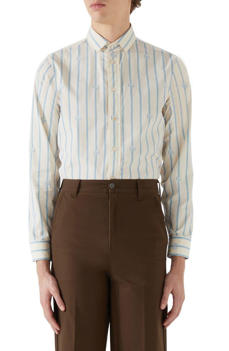 GUCCI GG Stripe Cotton Button-Up Shirt, Main, color, MARGARINE/AZURE