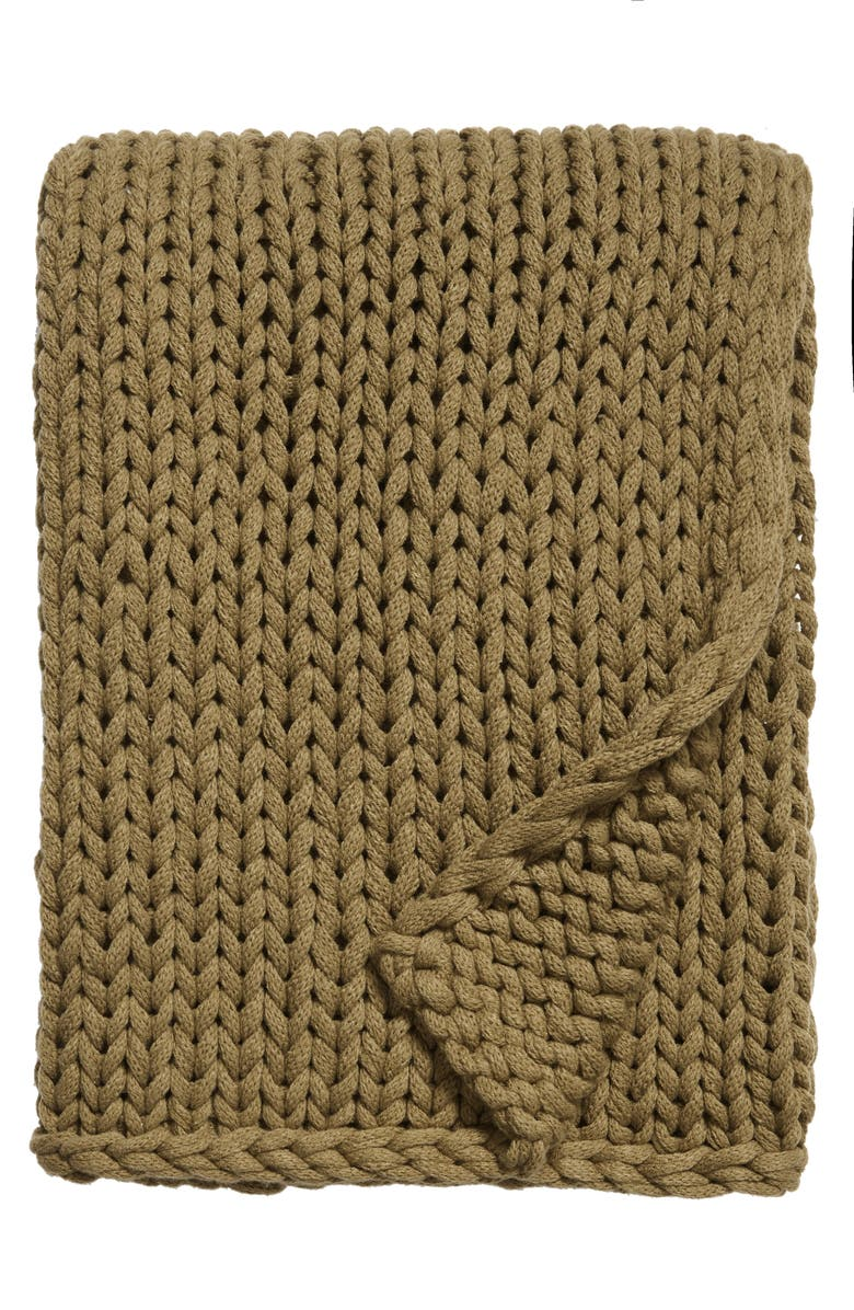 TREASURE & BOND Jersey Rope Throw Blanket, Main, color, OLIVE MARSH