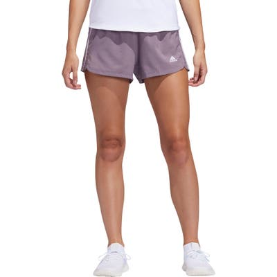 Adidas Pacer 3-Stripes Climalite Knit Shorts, Purple