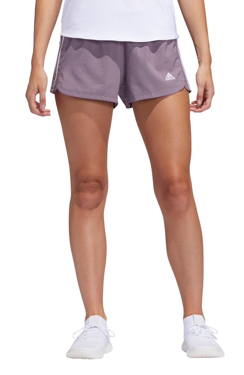 ADIDAS Pacer 3-Stripes Climalite<sup>®</sup> Knit Shorts, Main, color, LEGACY PURPLE/ PURPLE TINT