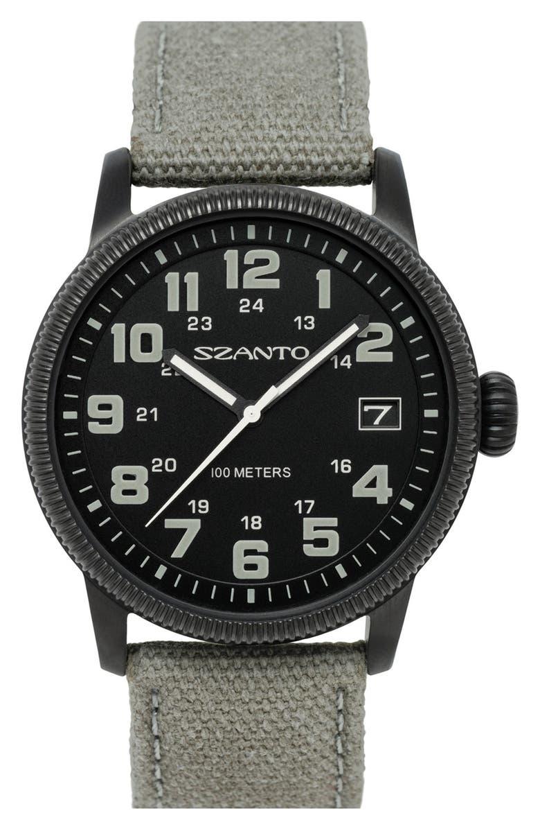 SZANTO Canvas Strap Watch, 42mm, Main, color, 020