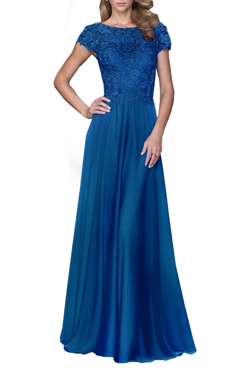 LA FEMME Lace & Satin A-Line Gown, Main, color, 410