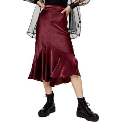 Topshop Flounce Midi Skirt, US (fits like 0) - Burgundy
