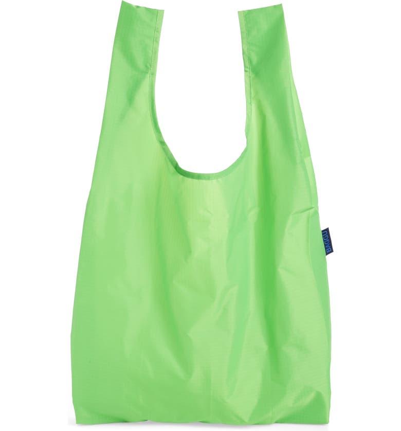 BAGGU <sup>®</sup> Standard Baggu Printed Ripstop Nylon Tote, Main, color, NEON GREEN