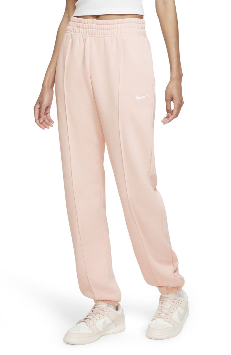 NIKE Sportswear Essential Fleece Pants, Main, color, PALE CORAL/ WHITE