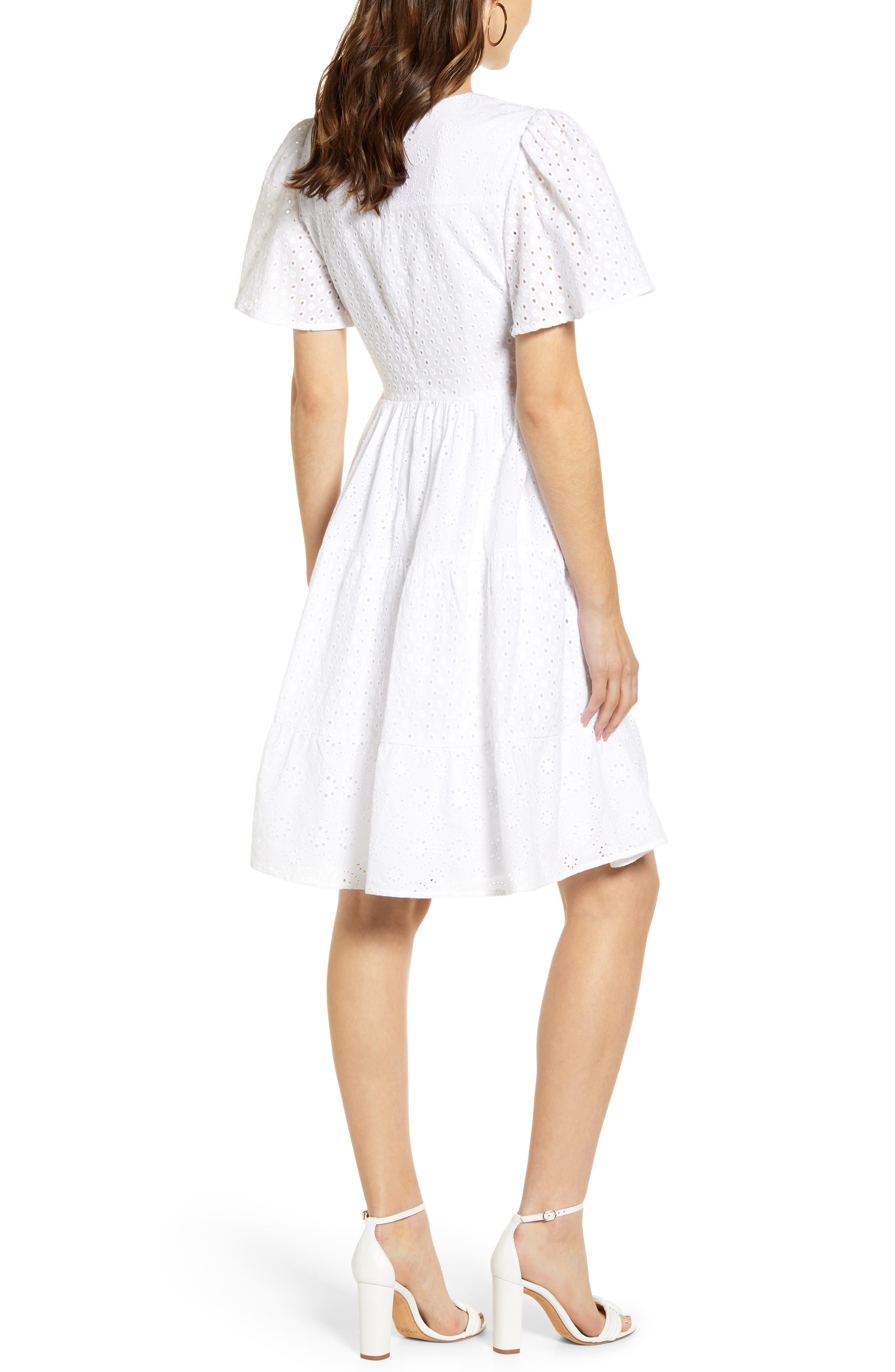 ,                             Mixed Eyelet A-Line Dress,                             Alternate thumbnail 2, color,                             WHITE