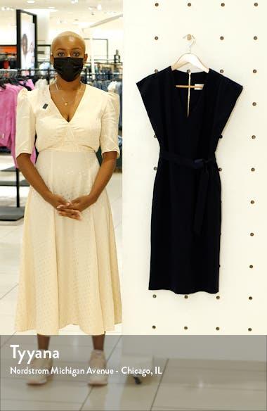 Flutter Sleeve Belted Crepe Dress, sales video thumbnail