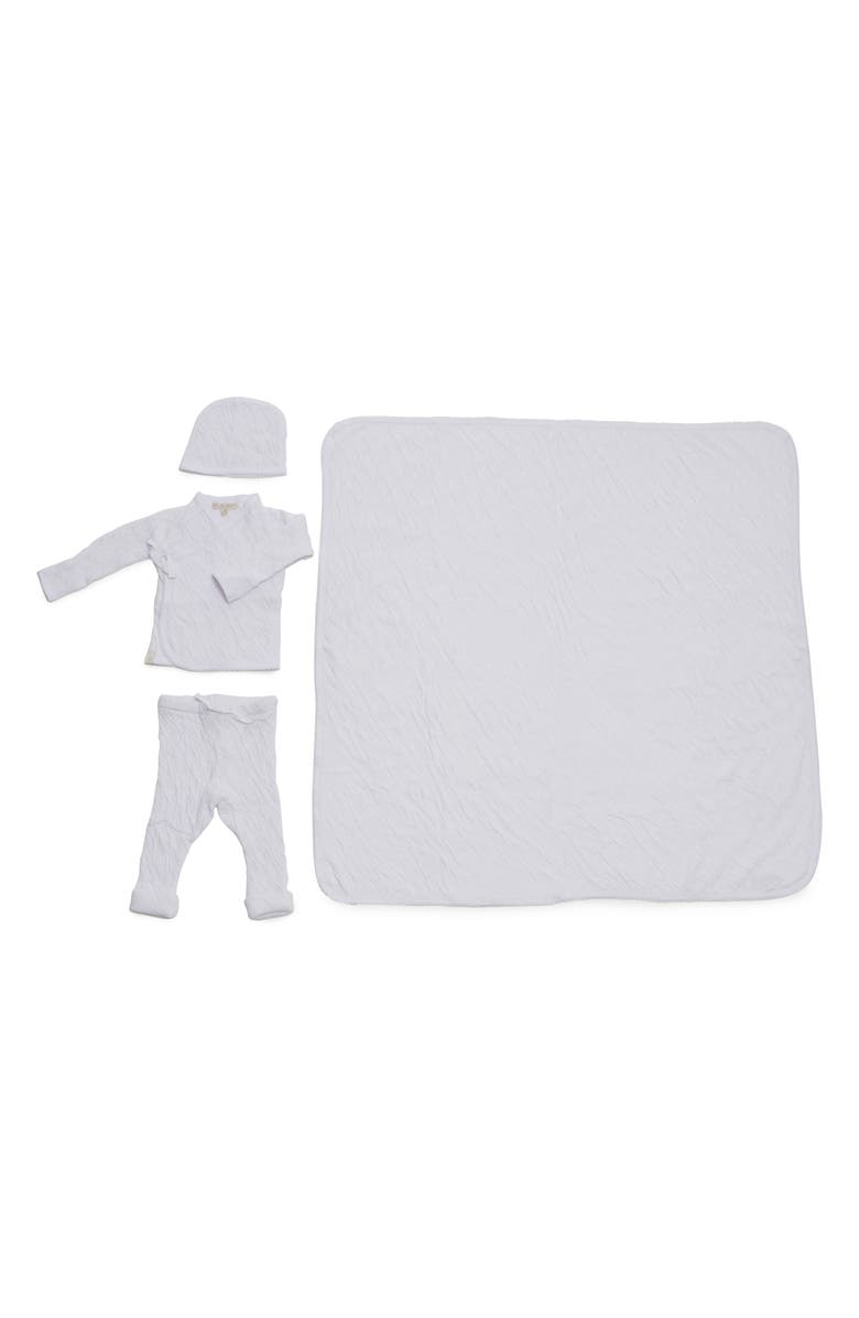 BAREFOOT DREAMS<SUP>®</SUP> Cardigan, Pants, Beanie & Blanket Set, Main, color, WHITE