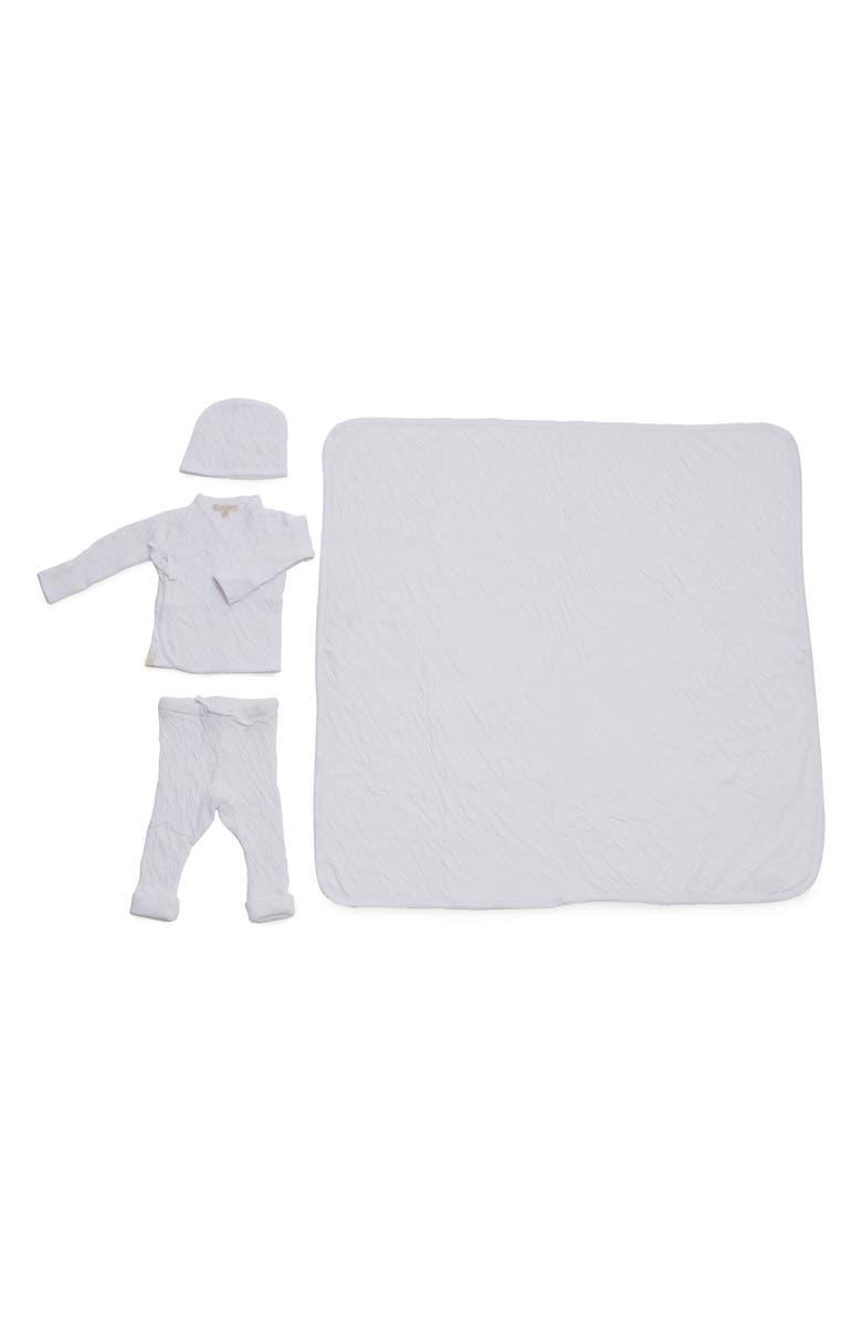BAREFOOT DREAMS<SUP>®</SUP> Cardigan, Pants, Beanie & Blanket Set, Main, color, WHITE
