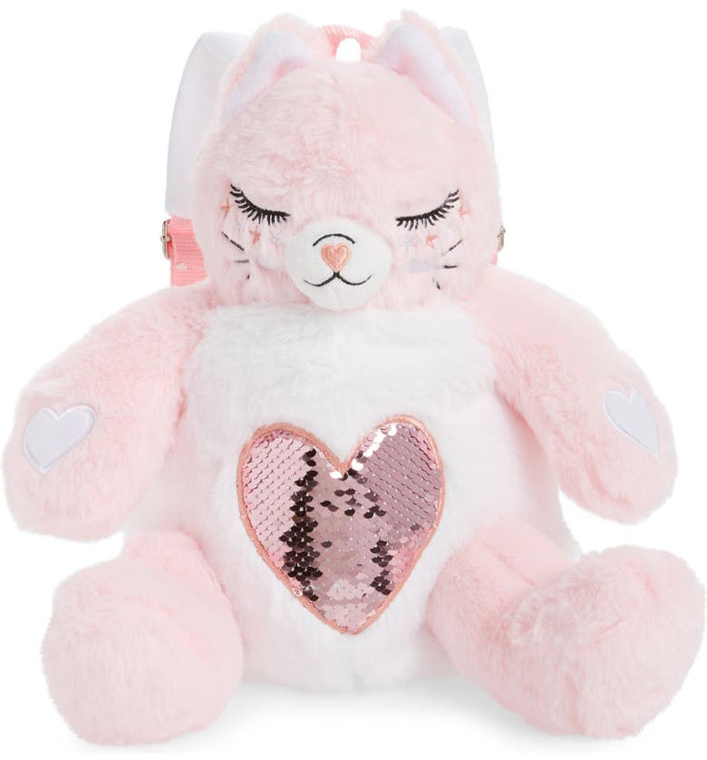 Under One Sky Plush Kitty Backpack (Light Pink Cat)