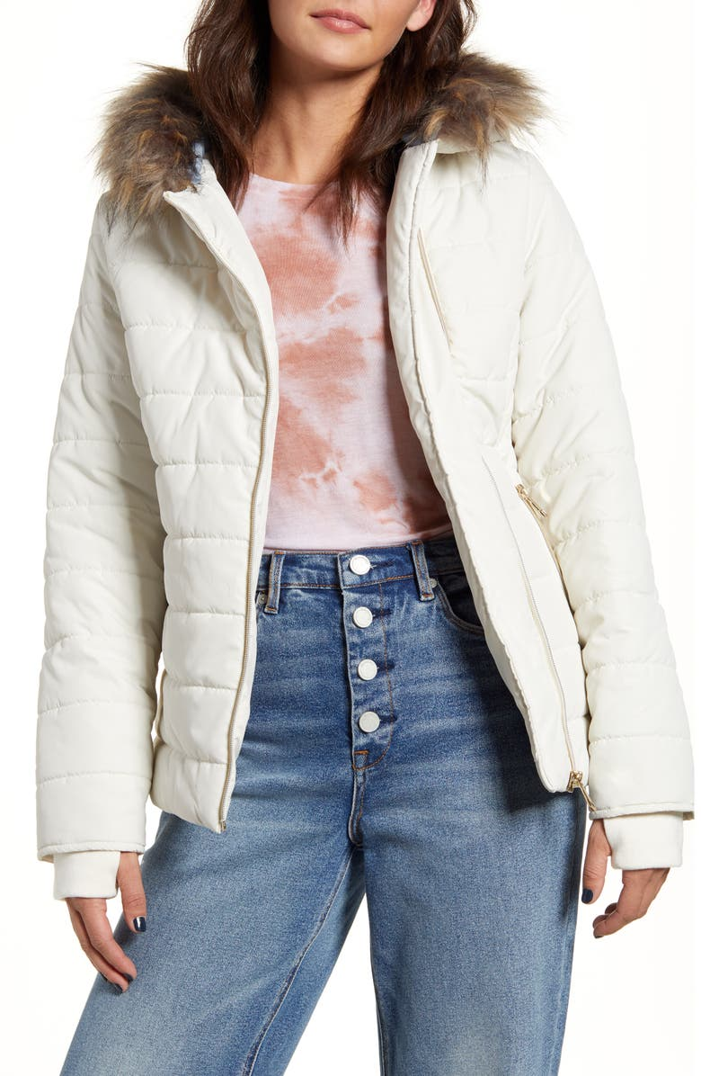 MARALYN & ME Quilted Faux Fur Trim Hooded Jacket, Main, color, IVORY
